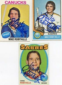 Buffalo Sabres Mike Robitaille signed 1974 75 Topps card