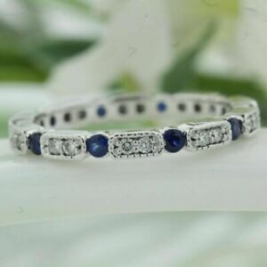 0.32 Carat Round Real Diamond Blue Sapphire Solid Platinum Bands Size M N O P Q