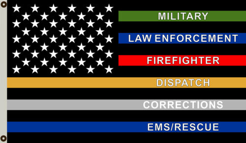 Thin Multi Line Flag Military Police Fire Corrections Dispatch EMS Rescue 3x5 ft