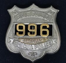 VINTAGE OBSOLETE SERGEANT BUFFALO SPECIAL POLICE 996 Collector's Police Badge