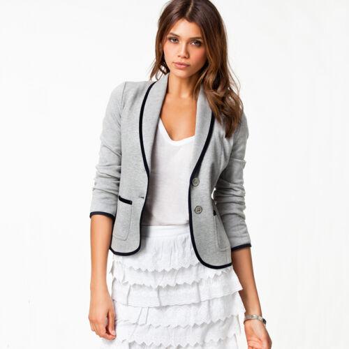 Womens Crop Short OL Jacket Tops Coat Slim Fit Casual Long Sleeve Button Blazer