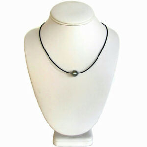 11-12mm-Round-Tahitian-Silver-Gray-Pearl-1-5mm-Leather-Cord-Necklace
