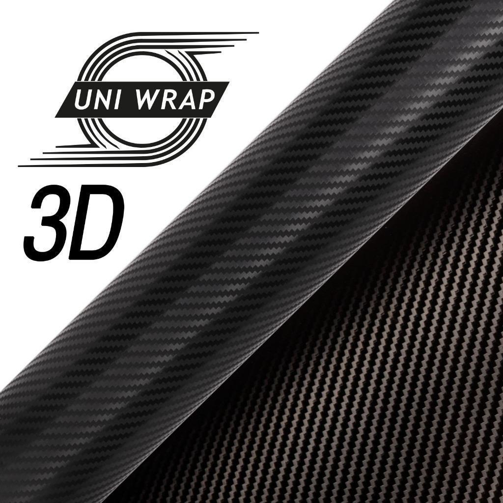 3D Schwarz Kohlefaser Vinyl Luft Frei