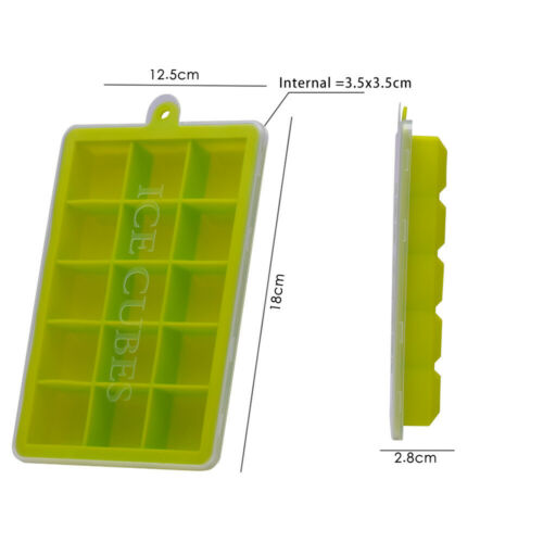 Large Silicone Ice Cube Trays with Lid Ice Jelly Molds for Whisky Cocktail