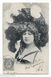Cpa D98 Darbel Artiste Theatre Mode Chapeau Plume Coiffure Boucle