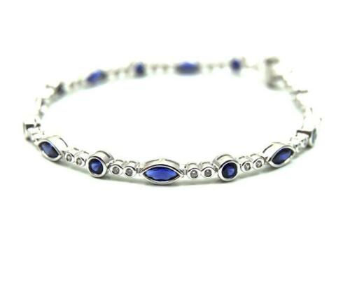 Diamond-Unique Bracelet Sapphire and Diamond  Sterling Silver Marquise /& Rounds