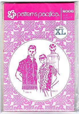 Uncut Pacifica Hawaiian Shirt Sewing Pattern Patterns 8006 Mens Size XL Vintage