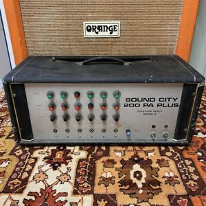 Vintage-1970s-Sound-City-200-PA-Plus-6550-Valve-Amplifier-Head-Dallas-Arbiter
