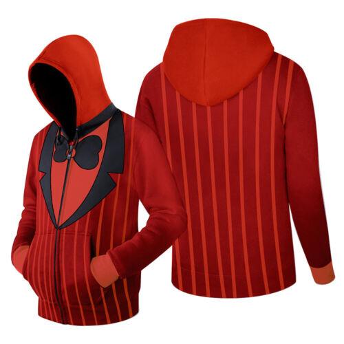 Hazbin Hotel ALASTOR  Cosplay Hoodie Zip-up Sweatshirt Casual Red Jacket