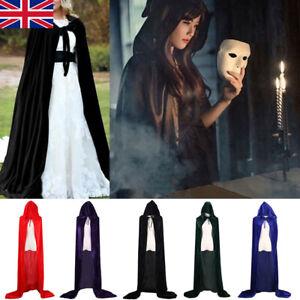 New Halloween Hooded Cloak Robe Medieval Witchcraft Cape Robe Costume Uk Tt Ebay