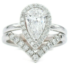 Gia Cert 1 39ct Pear Shape Diamond Engagement Ring Wedding Band