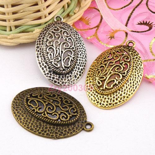 5Pcs Tibetan Silver,Antiqued Gold,Bronze Oval Charm Pendants Jewelry DIY M1266