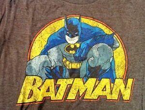 Distressed Vintage Style Classic  BATMAN DC Comics Brown T SHIRT Adult Medium