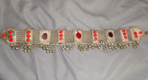 ANTIQUE TRIBAL SILVER AND GLASS DIADEM FROM YEMEN
