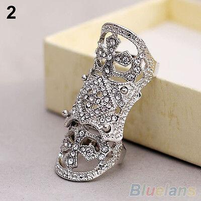 Vintage Fantastic Cool Punk Western Rhinestone Joint Finger Cross Ring Jewelry