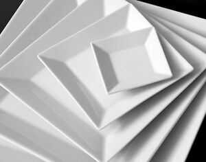 6x-Piatto-da-Zuppa-Profondo-Ca-22x22cm-Quadrati-Porcellana-Hotel-Bianco