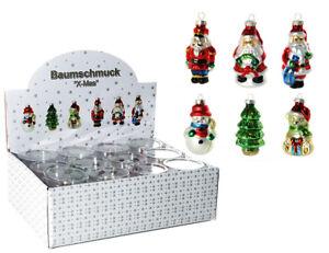 12-bunte-Glas-Weihnachtsfiguren-8-cm-Christbaumschmuck-Baumschmuck