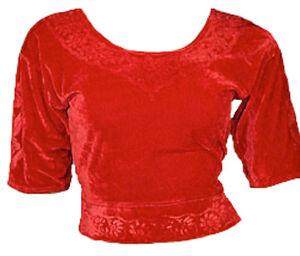 rouge-velours-top-choli-pour-BOLLYWOOD-SARI-gr-S-jusqu-039-a-3XL