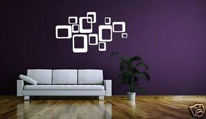 Wandtattoo Retro Vierecke Quadrate Elemente Siebziger Style 600141