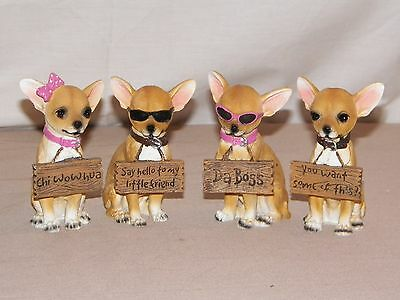 "NEW ADORABLE CHIHUAHUA DOGS HOLDING SIGN STATUE FIGURE 4"" GREAT GIFT 4 CHOICES"