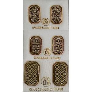Damascene-Gold-Geometric-Rectangle-Stud-Earrings-by-Midas-of-Toledo-Spain-3088