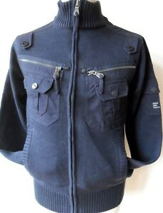 DUCK-amp-COVER-Men-039-s-Zip-Through-Cardigan-Jacket-Navy-Matric-Size-Small