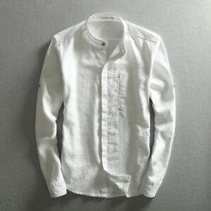 5fffc25eb Men Solid Cotton Linen Shirt Chinese Mandarin Collar Business Dress ...