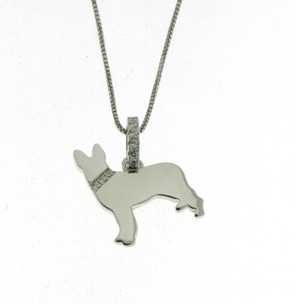 Ciondolo Cane redtweiler in Vero silver 925 Rodiato Brillanti Serie Dog
