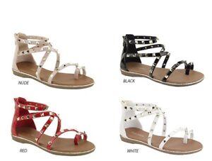 c4fdea3855 New Women Criss Cross Stud Ankle Strap Gladiator Flat Sandal Shoes ...