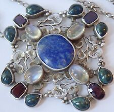 RARE ANTIQUE ARTS & CRAFTS STERLING SILVER MOONSTONE SODALITE GARNET NECKLACE