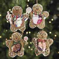 Christmas Gingerbread Man Photo Frame Ornaments 12 Piece
