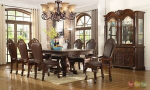 Chateau Traditional 7 Piece Formal Dining Room Set Pedestal Table ...