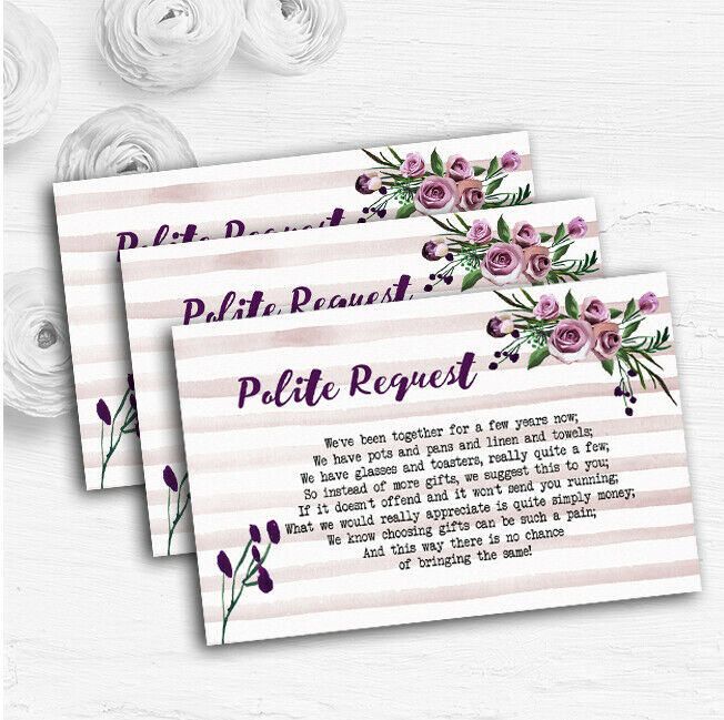 Watercolour Stripes lila Personalised Wedding Gift Request Money Poem Cards