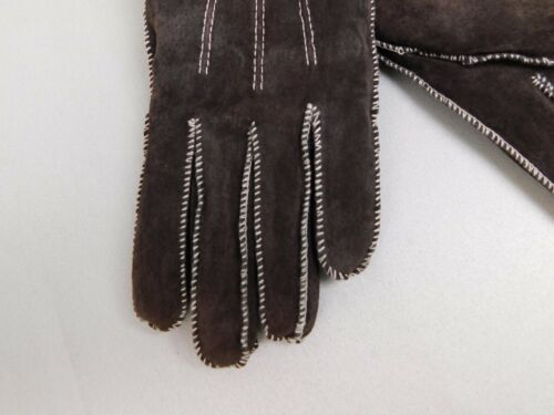 Isotoner Moccasin Stitch Suede Leather Sherpa Soft Gloves Brown Medium #5879