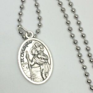 St christopher pendant necklace 24 inch stainless steel ball link image is loading st christopher pendant necklace 24 inch stainless steel aloadofball Choice Image