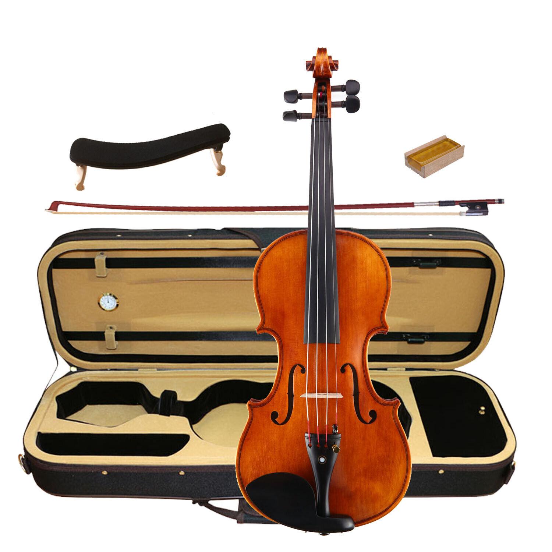 Best Model Violin 4 4 Flame Maple und Spruce EV-C00 Case Bow Rosin Shoulder Rest