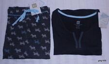 Karen Neuburger Sleepwear Separates (2) Black & Teal Zebra  Size XL New