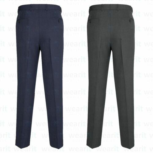 MEN TROUSERS OFFICE BUSINESS WORK FORMAL CASUAL SMART POCKET SUITPANTS NAVY GREY
