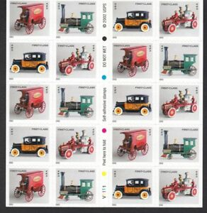 #3629e Booklet pane Vintage Toy Cars Train Fire engine Christmas stamps .37 cent