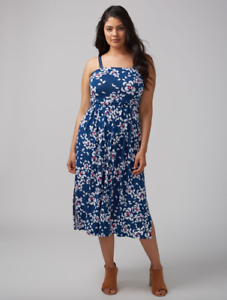 Lane-Bryant-Womens-Convertible-Midi-Dress-Plus-size-14-16-Blue-Floral-1x