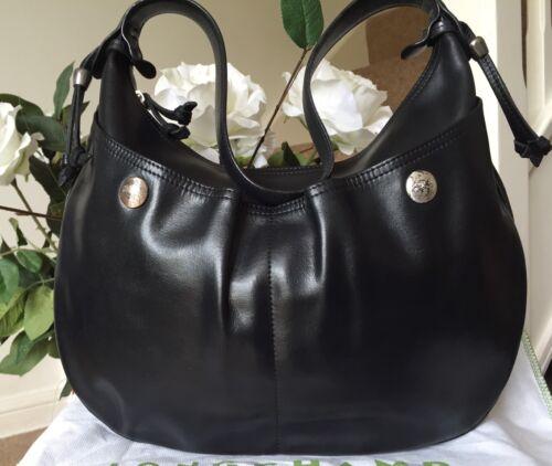 Designer Black Shoulder Bag Longchamp Beautiful Leather Hobo ekte 100 RFwxdT