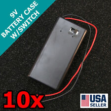 10x 9V Battery Case Holder On/Off Switch Cover 9 Volt Wire Lead Project 10pcs