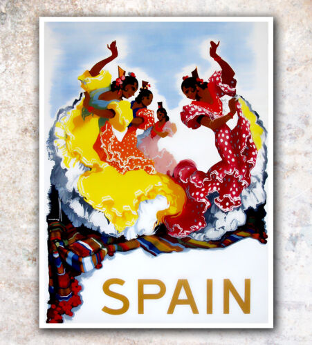 """Vintage Travel Poster Spain Dancing 12x16/"""" Rare Hot New A435"""
