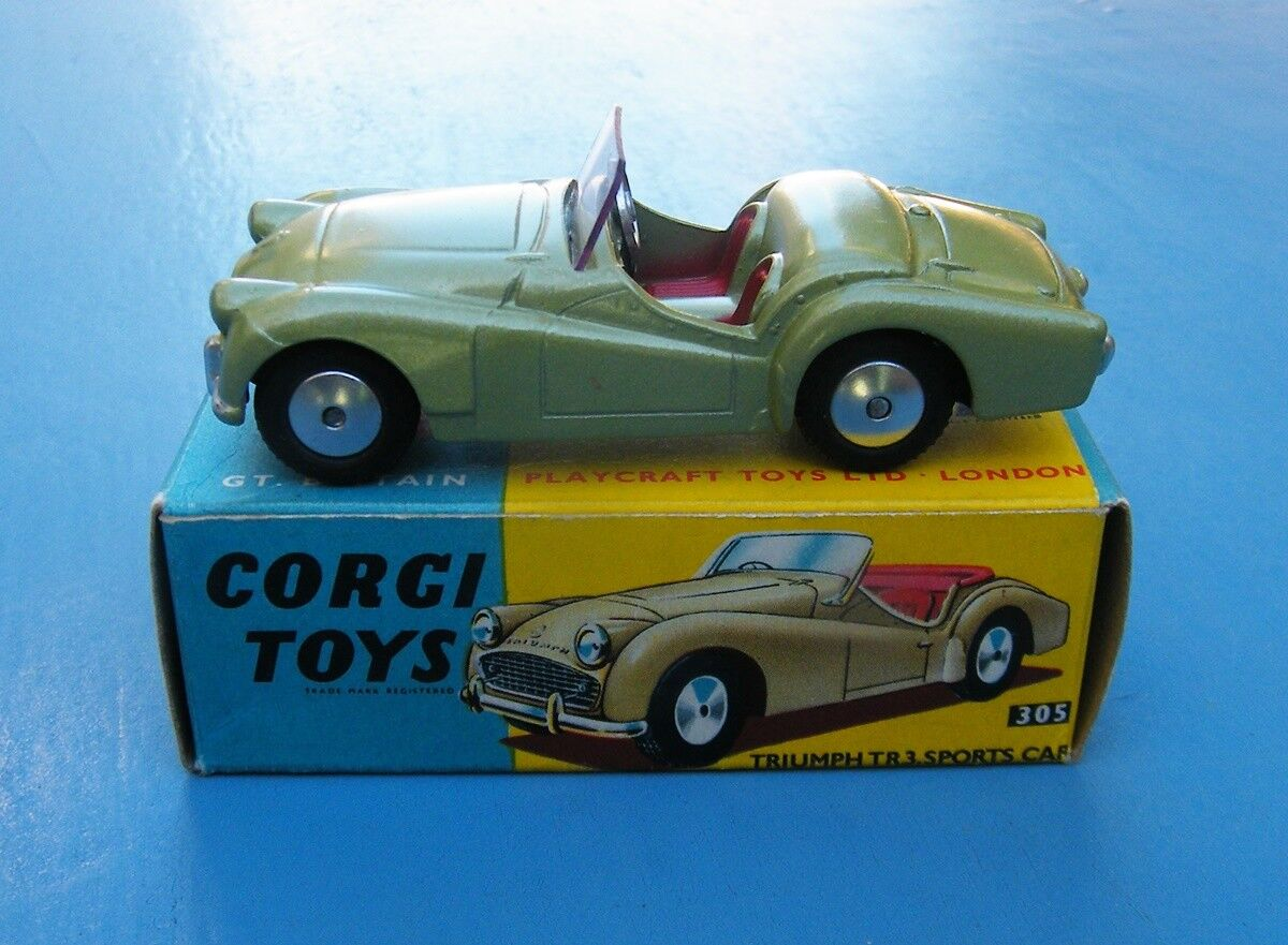 Corgi Toys 305 Triumph TR.3 Sports Car Lime Green Original MIB
