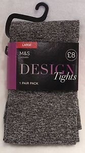 M-amp-S-DESIGN-TIGHTS-GREY-SMOOTH-KNIT-LEG-MEDIUM
