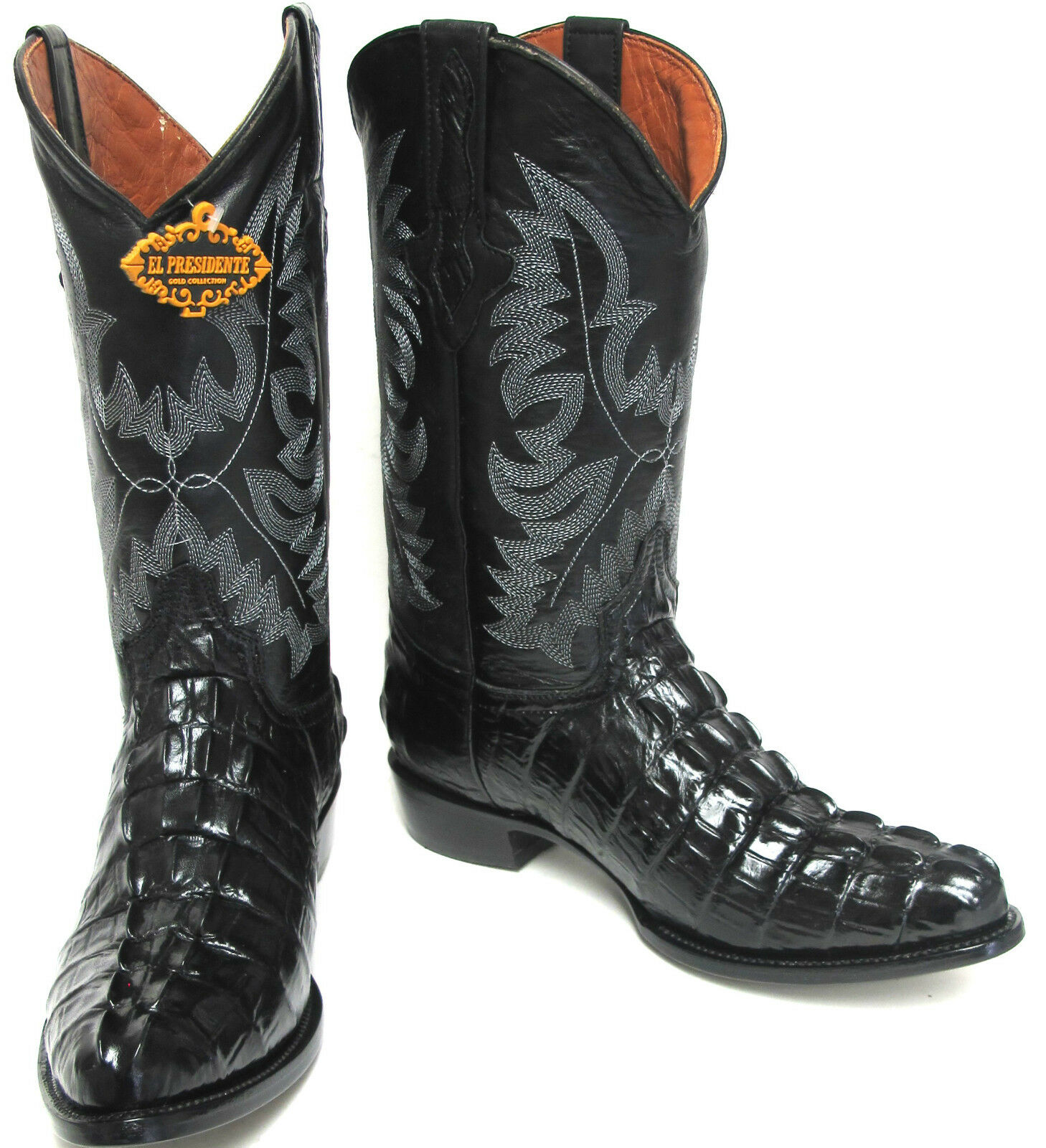 Men's New Crocodile Alligator Tail Leather Cowboy Western Rounded Boots Black