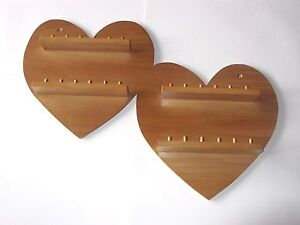 24pc-Hearts-Offset-Wooden-Thimble-Display-Rack-Pine-huge-range-see-list