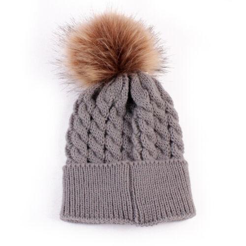 Newborn Baby Boy Girl Fur Pom Hat Winter Warm Crochet Knit Bobble Beanie Cap CH