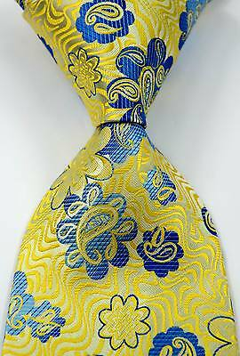 New Elegant Paisley Floral Yellow Blue JACQUARD WOVEN Silk Men's Tie Necktie