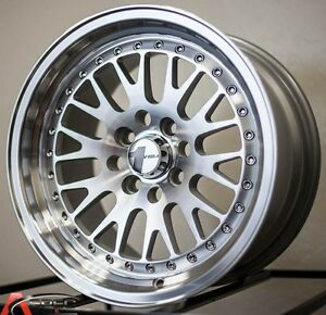 15x8 avid 1 hyper silver wheels av 12 4x100 25 fits bmw e30 325 318 2002 e21 ebay. Black Bedroom Furniture Sets. Home Design Ideas